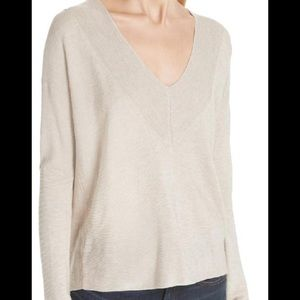 Eileen Fisher Box Maple Oat Tencel V-neck Sweater